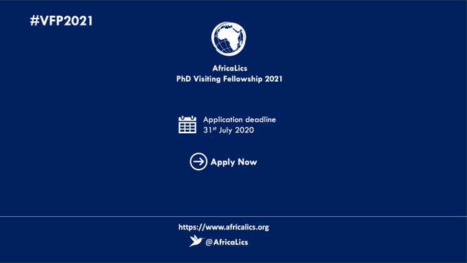 Funded Fellowship Visit for Ph.D. Students in the AfricaLics Ph.D. Visiting Fellowship Programme 2021